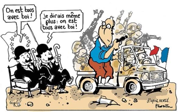Tintin au Mali - caricature de Plantu