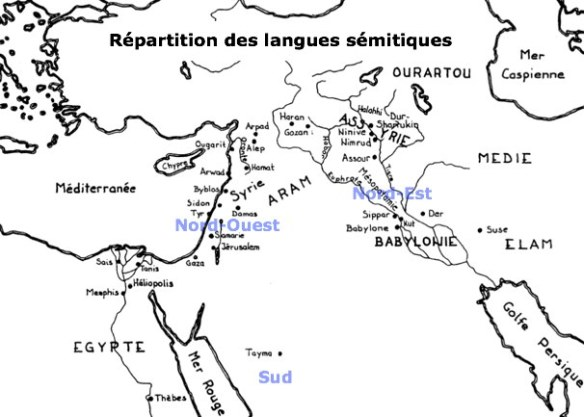 carte des langues d'origine sémite commune